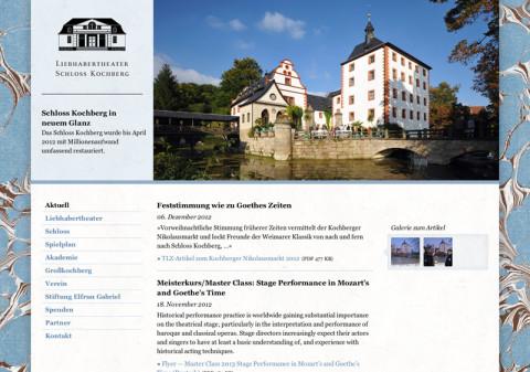 Website Liebhabertheater Schloss Kochberg