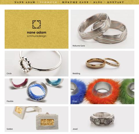 Website: Nane Adam· Schmuckdesign· Übersicht der Kollektionen