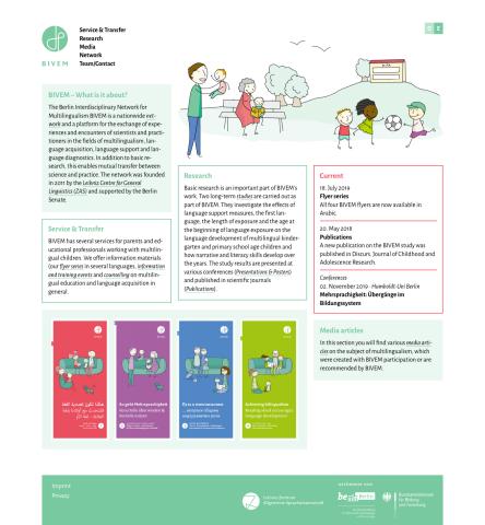 Website »Berliner Interdisziplinäre Verbund für Mehrsprachigkeit« BIVEM