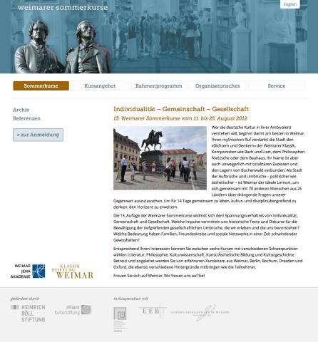 Website »Sommerkurse Weimar«